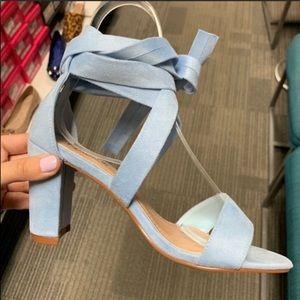 Something Blue suede tie up chunk heel